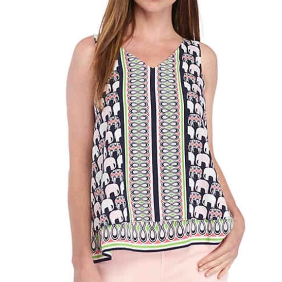 d80673342ef0b crown & ivy Tops | Nwt Crown Ivy Double Layer Elephant Print Tank ...